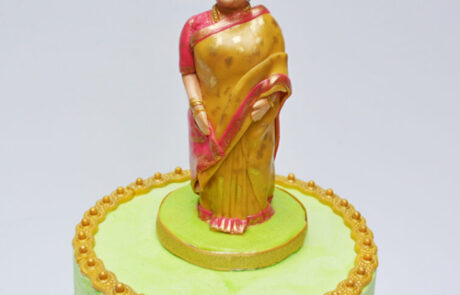 Indian grandma in saree cake topper